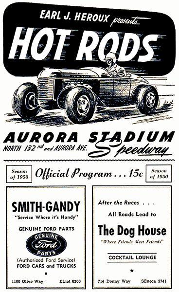 Primary image for 1950 Hot Rod Races - Aurora Stadium Speedway - Program Cover Poster