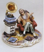 CAPODIMONTE Grandfather with Gramaphone Italy Laurenz Sculpture - $358.94