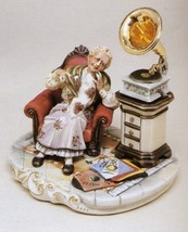 CAPODIMONTE Grandmother with Gramaphone  Laurenz Classic Sculpture Italy - $373.75