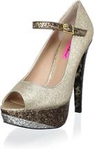 Betsey Johnson Mary Jane Gold Multi Size 7.5 Platform High Heels Rranae - $38.02
