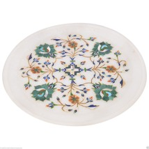 "9"" Decorative Marble Plate Pietra Dura Malachite Inaid Mosaic Garden Decor Gifts - $155.63"