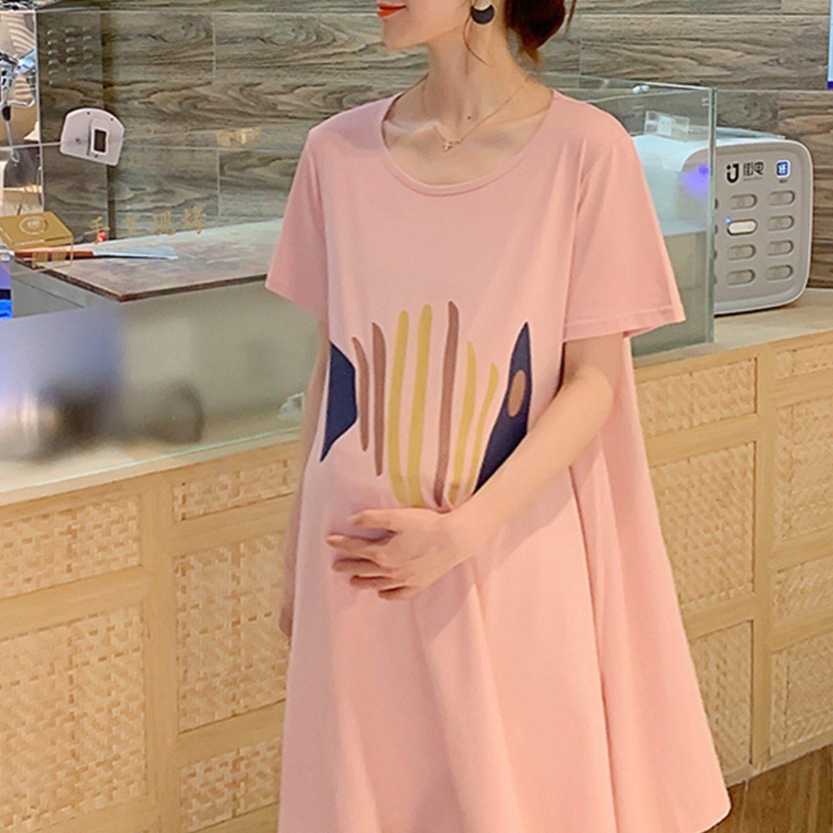 Maternity Dress Cartoon Simple Short Sleeve Loose Comfy Dress image 2