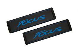 Ford Focus Black Leather Seat Belt Covers Blue Embroidery Cushion Should... - $45.00