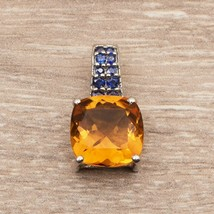 12 MM Cushion Cut Mandrine Citrine With Blue Sapphire Sterling Silver925... - $17.64