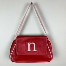 N Initial Shoulder Bag Leather Red Pink Small Flap 90s Throwback Jam Jan... - $48.19