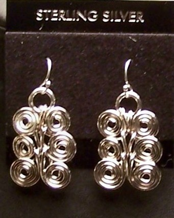 Sterling Silver Spiral Link Chain Earrings Set 16 IN MADE IN USA