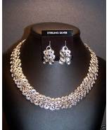 Sterling Silver Spiral Link Chain Earrings Set 19 IN MADE IN USA - $295.00