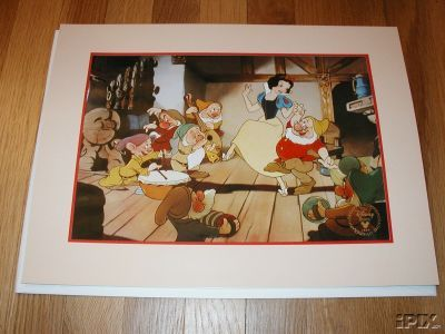 Disney Snow White Dancing with 7 Dwarfs Gold Seal Lithograph image 2
