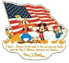 Disney WDW  Mickey Goofy Donald and Gang USA 'I thank America' pin/pins - $21.28