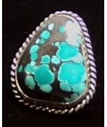 Turquoise Sterling Silver Ring SZ 7.5 MADE IN U... - $149.00