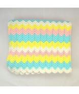 "Vtg Pastel Rainbow Zig Zag Striped Crochet Knit Throw Blanket Cover 36"" ... - $28.70"