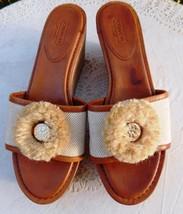 Coach Wedges Jazmin Brown Leather Beige Canvas Cork Sandals Slides 9B New - $45.00