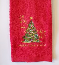 CHRISTMAS FINGERTIP TOWEL SET 3pc, Embroidered Holiday Towels, Santa Red Green image 4