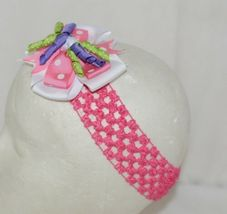 Unbranded Girl Infant Toddler Headband Removable Hair Bow Pink PolkaDot Curly Qs image 3