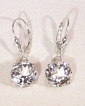 White Topaz Sterling Silver Earrings 8.0 cttw Dangles MADE IN USA - $145.00
