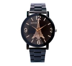 KEVIN Metal Iron  Analog Quartz Wristwatch Men Watches Black Steel Band - $14.50