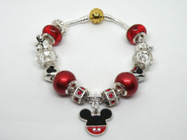 Red Mickey Mouse European Murano Beaded Bracelet. Gift bag included - $19.95