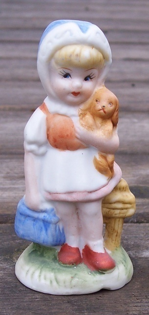 Primary image for Little Girl with Puppy Dog Hand Painted Figurine