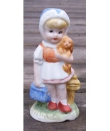 Little Girl with Puppy Dog Hand Painted Figurine - $3.59