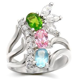 Sterling Silver 925 Fashion Jewelry Ring, With Multi Color CZ, Size 5,6, 10