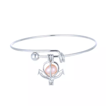 Cage Pendant Bangle Bracelets With With Oyster Pearl- 1 x Random design image 5