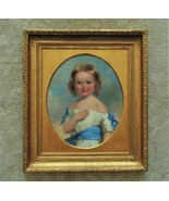 19th c. Portrait Painting Girl Child Oil on Canvas Antique Victorian Ame... - £2,356.85 GBP