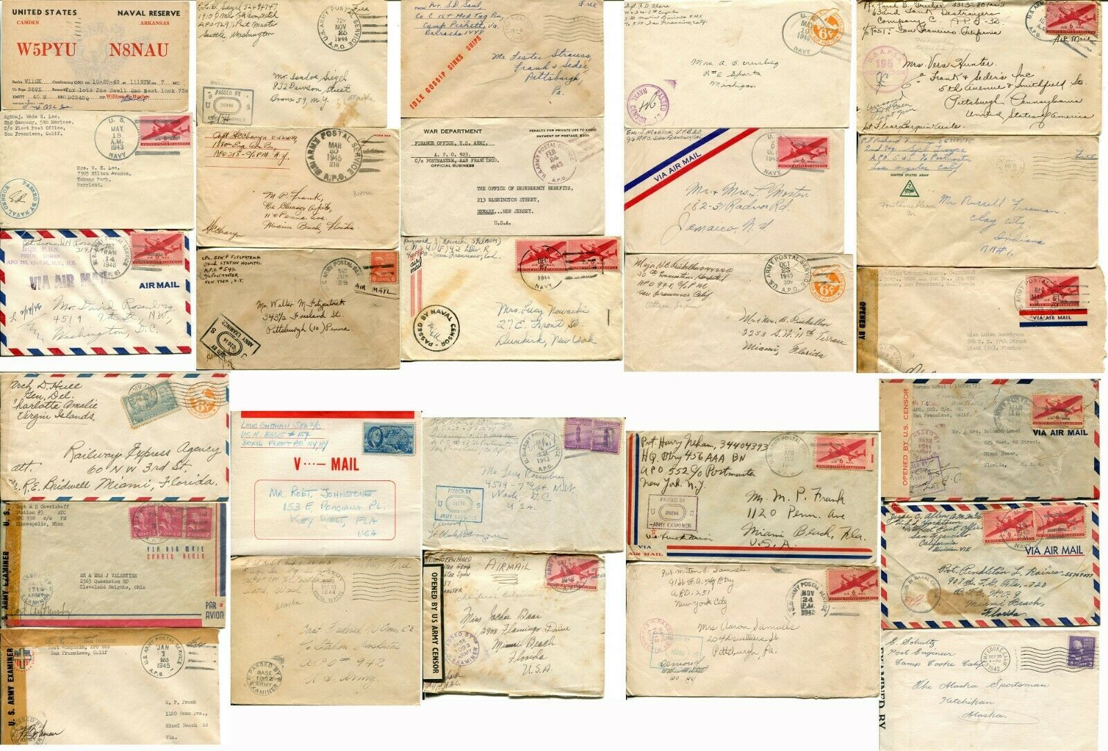 US Army Airmail WWII APO Navy Military Cover Examined Postage Collection