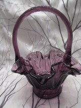 Fenton Art Glass Vintage 1995 Plum Lambs Tongue Basket With Ribbed Handle - $48.00