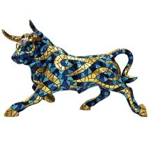 Barcino Carnival Large Bull Mosaic blue and gold Sculpture NEW - $9.670,69 MXN