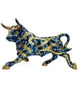 Barcino Carnival Large Bull Mosaic blue and gold Sculpture NEW - $436.59