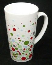 2004 Starbucks White Ceramic Mug Cup Bubbles Polka Dots Circles Holiday 16 oz - $19.75
