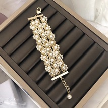 NEW Authentic CHANEL 2019 Multi Strand Crystal CC Gold Chain Pearl Bracelet  image 9