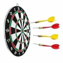 Portable Round Dartboard Toy Hanging Dart Board Set 4 Needles Kids Adult... - $26.11