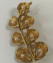 Vintage Long Stem Branch Faux Pearl Gold Tone Pin Brooch Jewelry 1x2-24 - $27.96
