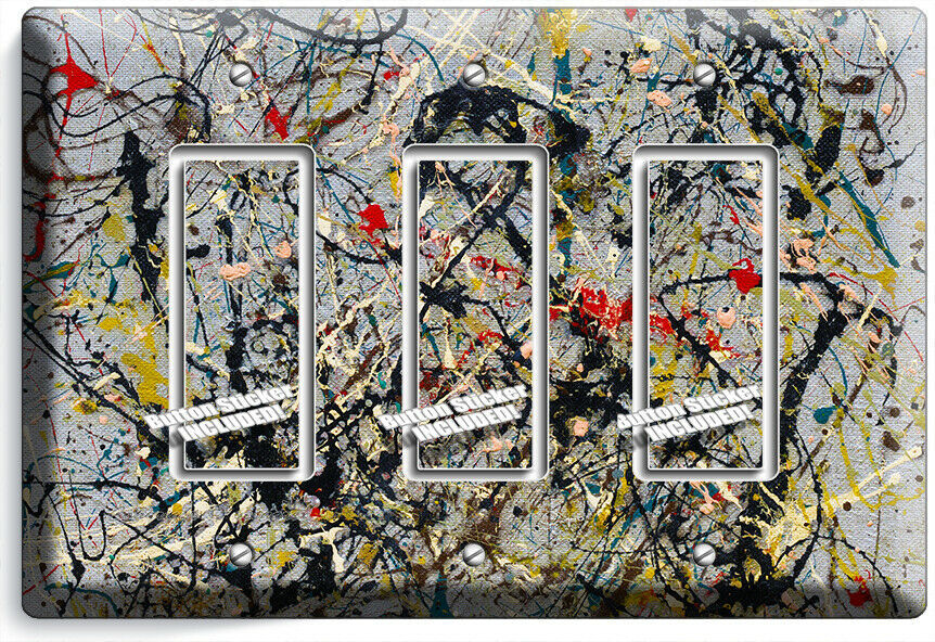 JACKSON POLLOCK INSPIRED ABSTRACT 3 GFCI LIGHT SWITCH WALL PLATE ROOM ART DECOR