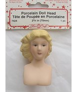 "Fibre Craft 1 PIECE of PORCELAIN DOLL HEAD 2-3/4"" w Molded BLONDE HAIR - $19.79"
