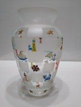 LENOX Handpainted Nautical Vase Lighthouse Sailboat Anchor Sea Creatures... - $49.27