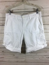 Calvin Klein Jeans Womens Cotton Bermuda Shorts Rolled Cuff White Size 8 - $9.89