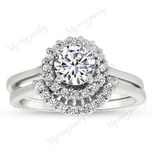 Halo Ring Bridal Ring Set 14k White Gold Plated 925 Sterling Silver  - $89.99