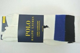 POLO Ralph Lauren White Multi Rugby Striped Casual Long Sock 3 Pack - $18.00