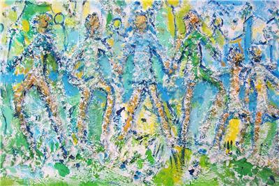 "Original Untitled ""FAMILY"" Mixed Media Abstract Art Painting- Signed by Artist S"