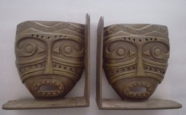 Pier 1 Cast Iron Tribal Mask Book End Pair - $49.49