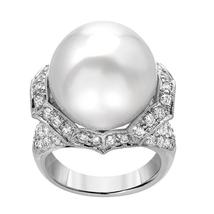 white gold 14k South sea pearl and diamond wedding ring 18 mm      GB13712 - $3,450.00