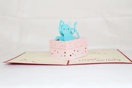 Cat in Box Pop Up Greeting Card Handmade Happy Birthday Anniversary 48 - $4.99