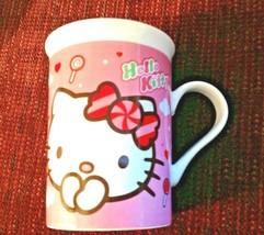 Hello Kitty Coffee Mug Sanrio Porcelain 10 oz Pink White - $12.82
