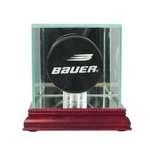 Glass Single Hockey Puck Display Case with Cherry Wood Molding - $42.19