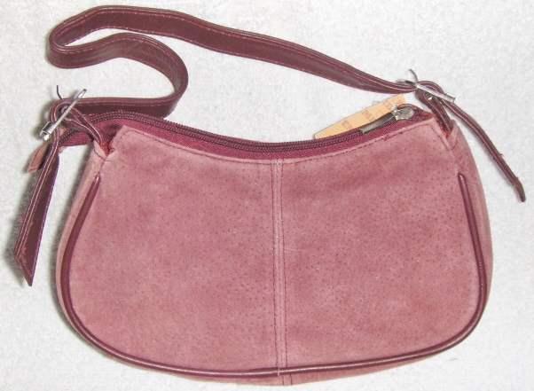 Genuine Suede Leather Shoulder Bag/Handbag #61 DUSTY WINE