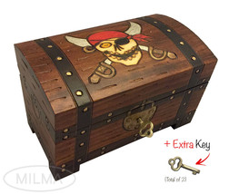 Pirate Chest Box Polish Handmade Wood Keepsake Jewelry Box - $35.63