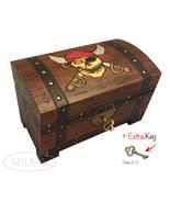 Pirate Chest Box Polish Handmade Wood Keepsake Jewelry Box - $35.63