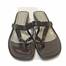 Marc Fisher Brown Faux Patent Leather Sandals Flip Flop Thong Wedges Siz... - $14.58